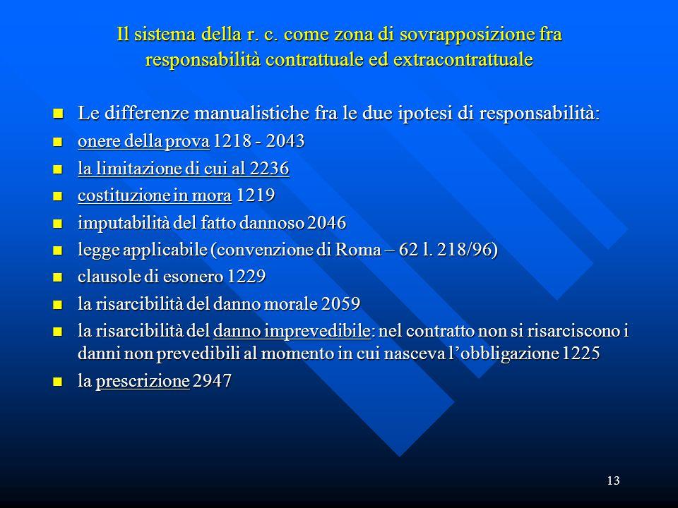 13 Il sistema della r. c. come zona di sovrapposizione fra responsabilità contrattuale ed extracontrattuale n Le differenze manualistiche fra le due i