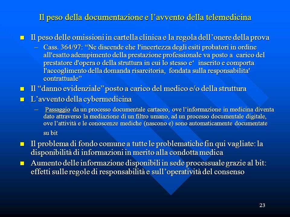23 Il peso della documentazione e l'avvento della telemedicina n Il peso delle omissioni in cartella clinica e la regola dell'onere della prova –Cass.