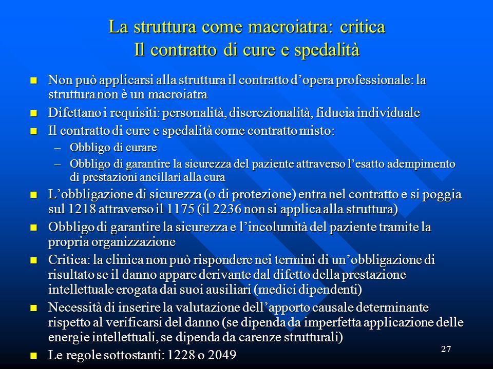 27 La struttura come macroiatra: critica Il contratto di cure e spedalità n Non può applicarsi alla struttura il contratto d'opera professionale: la s