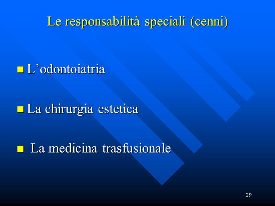 29 Le responsabilità speciali (cenni) n L'odontoiatria n La chirurgia estetica n La medicina trasfusionale