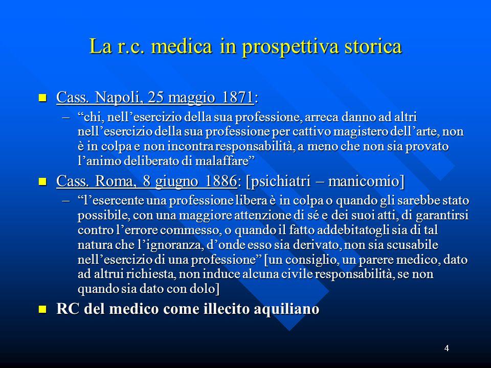 """4 La r.c. medica in prospettiva storica n Cass. Napoli, 25 maggio 1871: –""""chi, nell'esercizio della sua professione, arreca danno ad altri nell'eserci"""