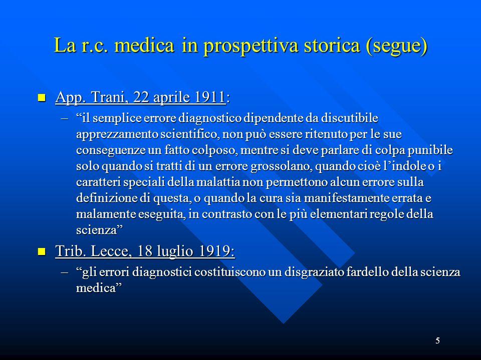 """5 La r.c. medica in prospettiva storica (segue) n App. Trani, 22 aprile 1911: –""""il semplice errore diagnostico dipendente da discutibile apprezzamento"""