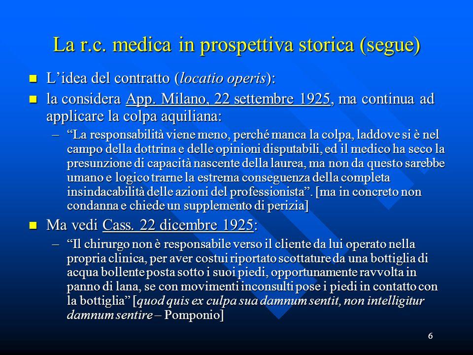 6 La r.c. medica in prospettiva storica (segue) n L'idea del contratto (locatio operis): n la considera App. Milano, 22 settembre 1925, ma continua ad