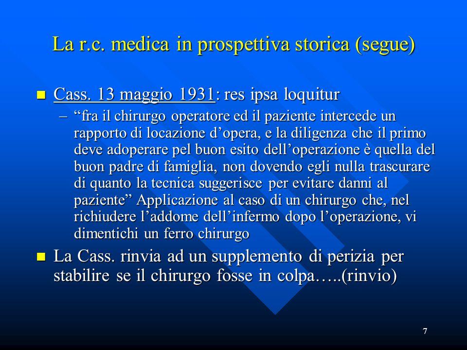 """7 La r.c. medica in prospettiva storica (segue) n Cass. 13 maggio 1931: res ipsa loquitur –""""fra il chirurgo operatore ed il paziente intercede un rapp"""
