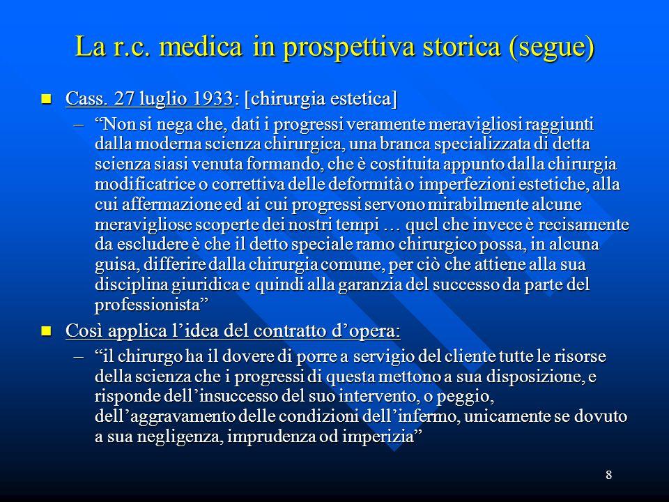 """8 La r.c. medica in prospettiva storica (segue) n Cass. 27 luglio 1933: [chirurgia estetica] –""""Non si nega che, dati i progressi veramente meraviglios"""