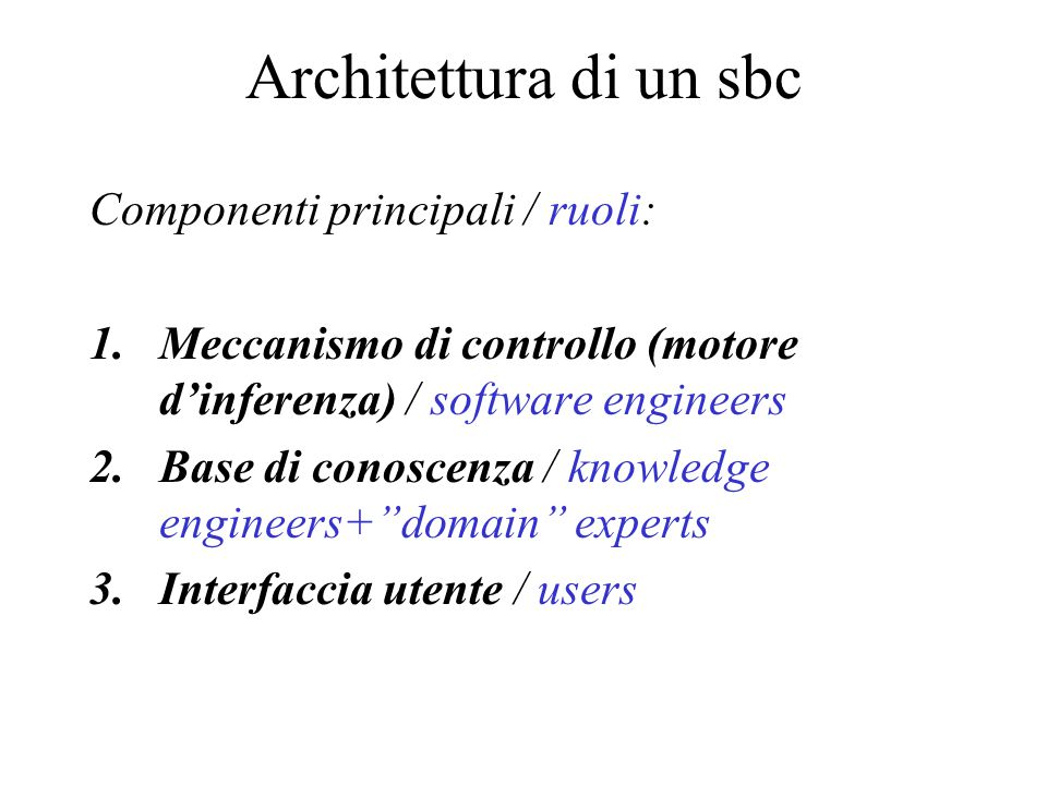 Componenti principali / ruoli: 1.Meccanismo di controllo (motore d'inferenza) / software engineers 2.Base di conoscenza / knowledge engineers+ domain experts 3.Interfaccia utente / users