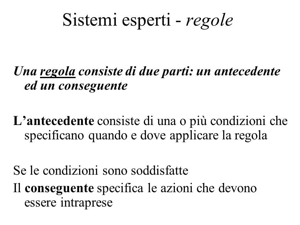 Sistemi esperti - regole Una regola consiste di due parti: un antecedente ed un conseguente L'antecedente consiste di una o più condizioni che specificano quando e dove applicare la regola Se le condizioni sono soddisfatte Il conseguente specifica le azioni che devono essere intraprese