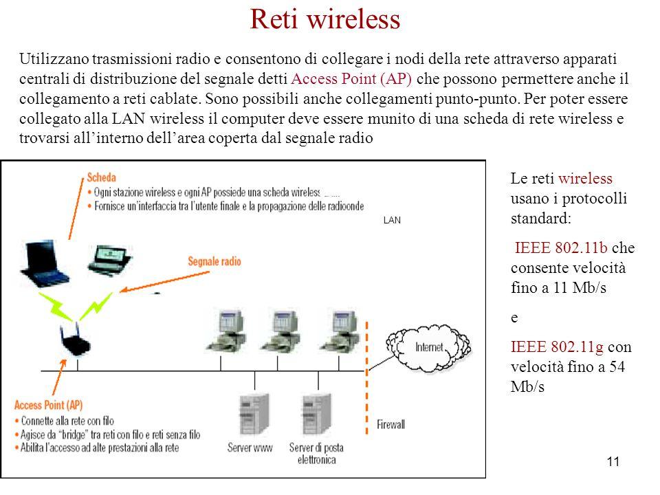 Corso di Informatica - Reti - Raffaele Grande 2005 11 Reti wireless Utilizzano trasmissioni radio e consentono di collegare i nodi della rete attraver