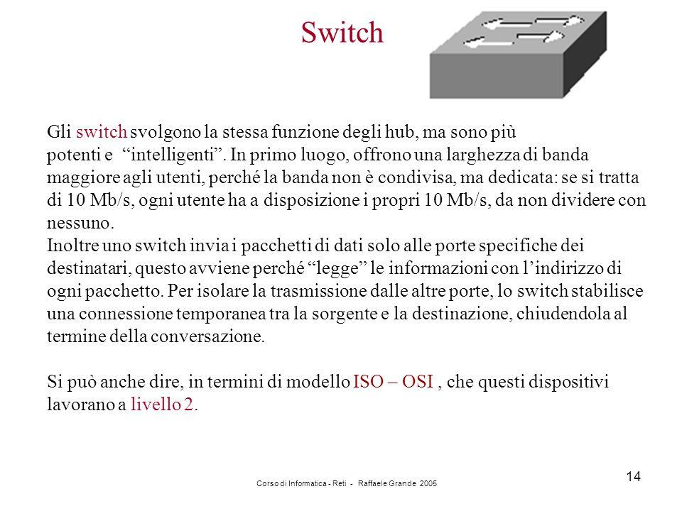 """Corso di Informatica - Reti - Raffaele Grande 2005 14 Switch Gli switch svolgono la stessa funzione degli hub, ma sono più potenti e """"intelligenti"""". I"""