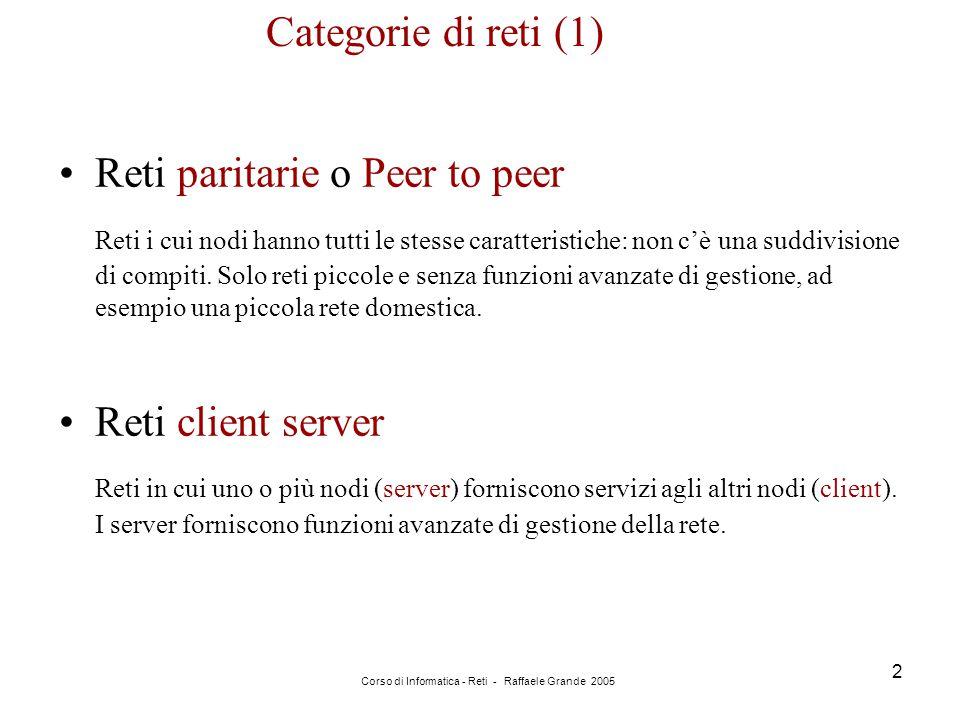 Corso di Informatica - Reti - Raffaele Grande 2005 2 Categorie di reti (1) Reti paritarie o Peer to peer Reti i cui nodi hanno tutti le stesse caratte