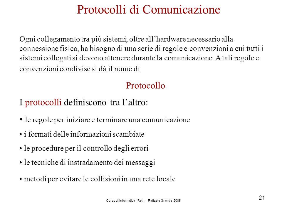 Corso di Informatica - Reti - Raffaele Grande 2005 21 Protocolli di Comunicazione Ogni collegamento tra più sistemi, oltre all'hardware necessario all