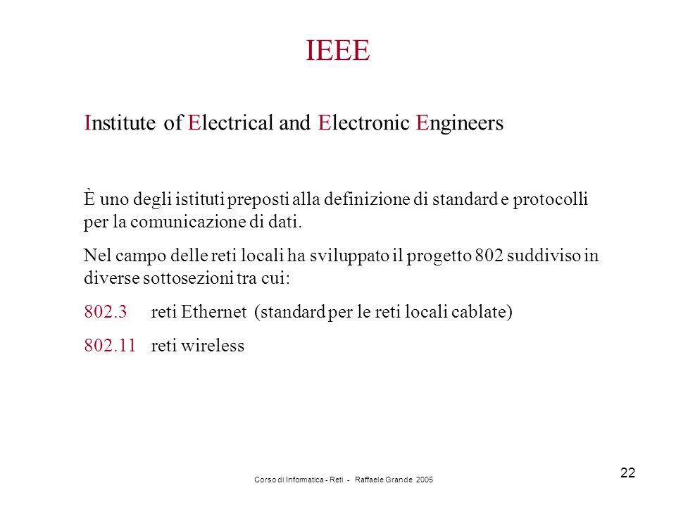 Corso di Informatica - Reti - Raffaele Grande 2005 22 IEEE Institute of Electrical and Electronic Engineers È uno degli istituti preposti alla definiz