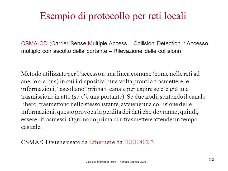 Corso di Informatica - Reti - Raffaele Grande 2005 23 Esempio di protocollo per reti locali CSMA-CD (Carrier Sense Multiple Access – Collision Detecti