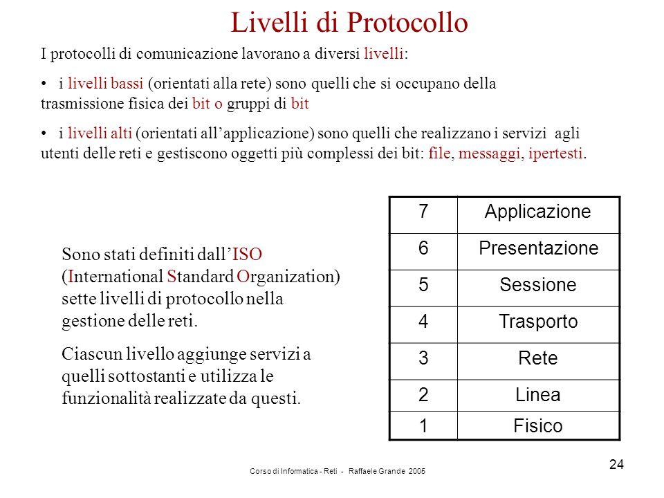 Corso di Informatica - Reti - Raffaele Grande 2005 24 I protocolli di comunicazione lavorano a diversi livelli: i livelli bassi (orientati alla rete)