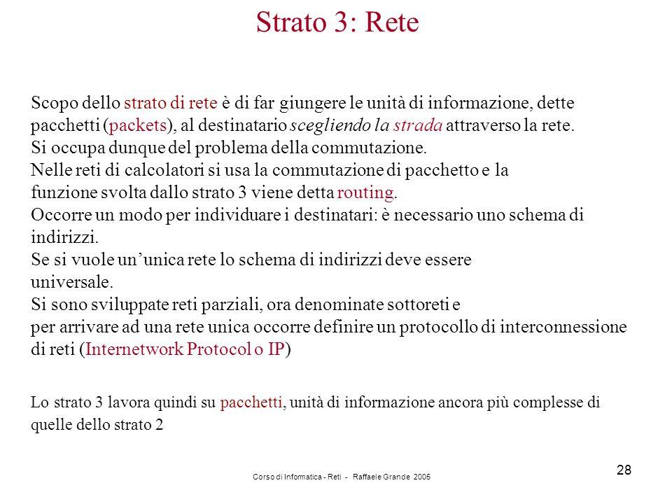 Corso di Informatica - Reti - Raffaele Grande 2005 28 Strato 3: Rete Scopo dello strato di rete è di far giungere le unità di informazione, dette pacc
