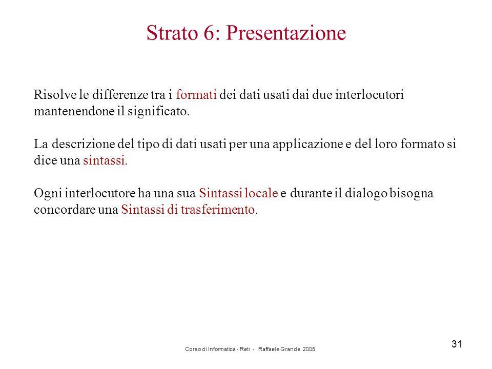 Corso di Informatica - Reti - Raffaele Grande 2005 31 Strato 6: Presentazione Risolve le differenze tra i formati dei dati usati dai due interlocutori