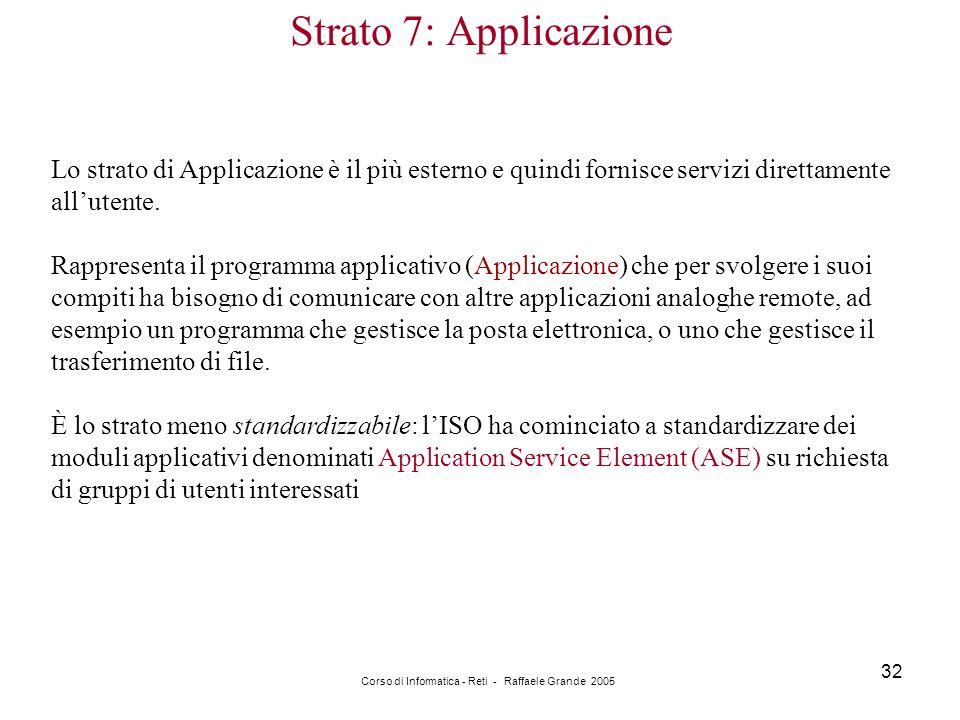 Corso di Informatica - Reti - Raffaele Grande 2005 32 Strato 7: Applicazione Lo strato di Applicazione è il più esterno e quindi fornisce servizi dire