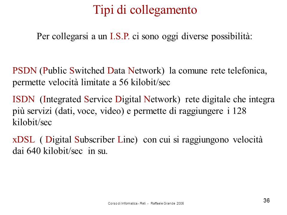 Corso di Informatica - Reti - Raffaele Grande 2005 36 Tipi di collegamento Per collegarsi a un I.S.P. ci sono oggi diverse possibilità: PSDN (Public S