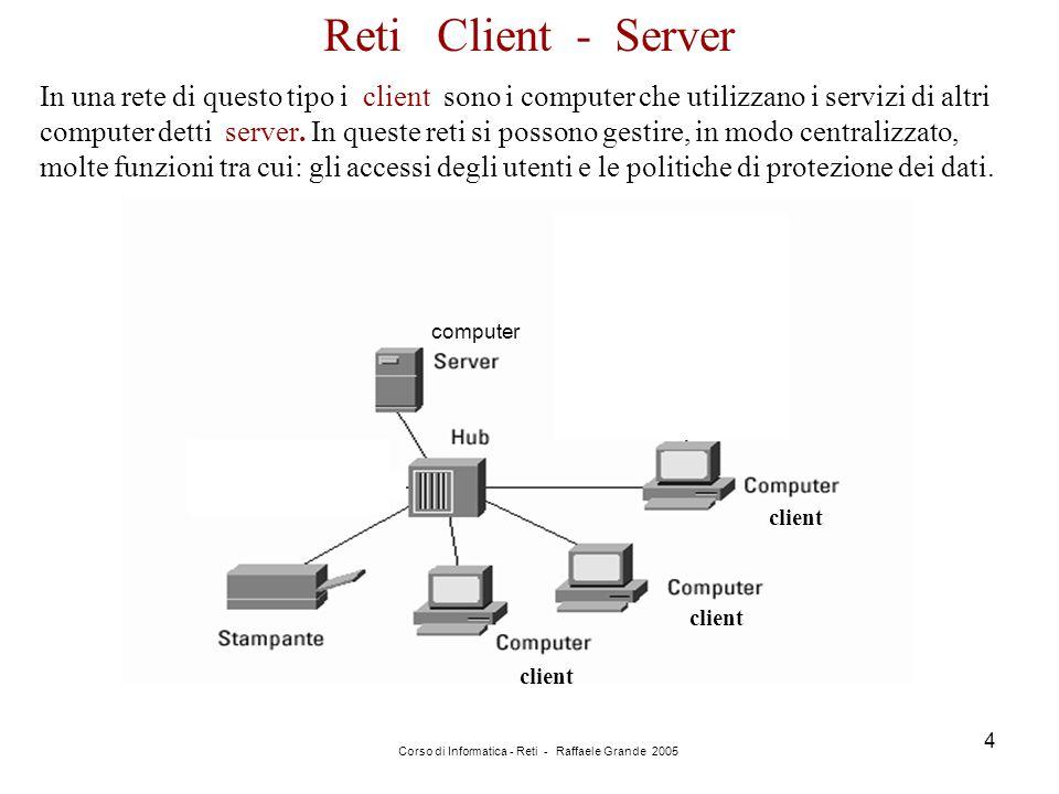Corso di Informatica - Reti - Raffaele Grande 2005 4 Reti Client - Server In una rete di questo tipo i client sono i computer che utilizzano i servizi