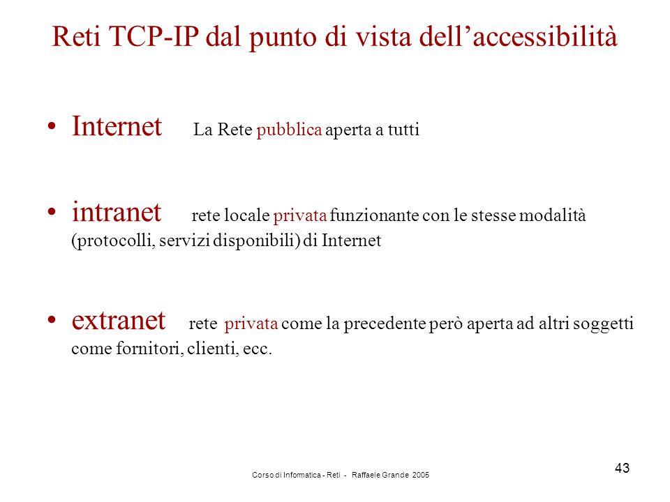 Corso di Informatica - Reti - Raffaele Grande 2005 43 Internet La Rete pubblica aperta a tutti intranet rete locale privata funzionante con le stesse