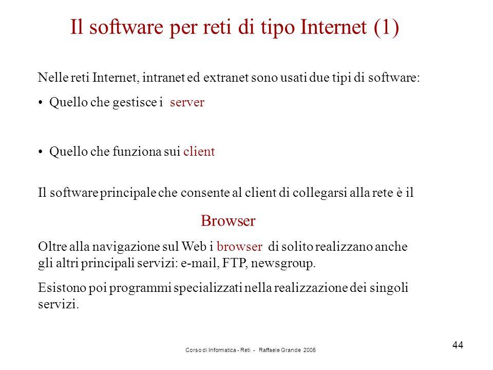 Corso di Informatica - Reti - Raffaele Grande 2005 44 Il software per reti di tipo Internet (1) Nelle reti Internet, intranet ed extranet sono usati d