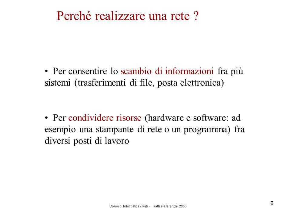 Corso di Informatica - Reti - Raffaele Grande 2005 6 Perché realizzare una rete ? Per consentire lo scambio di informazioni fra più sistemi (trasferim