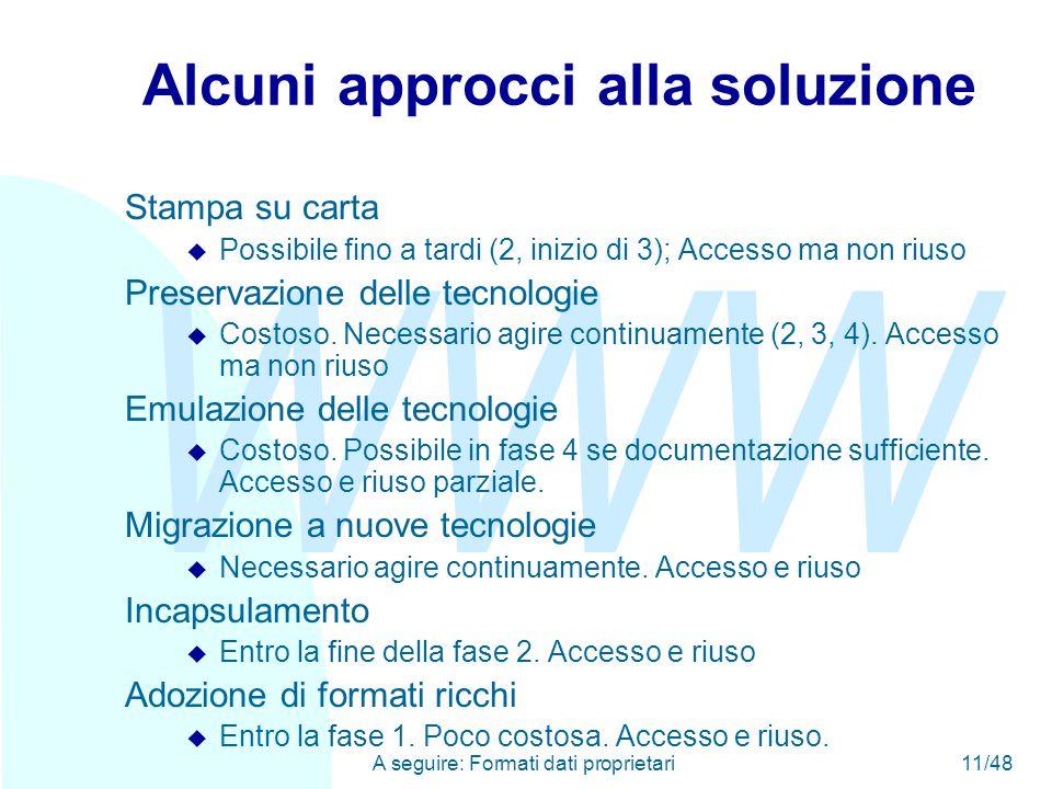 WWW A seguire: Formati dati proprietari11/48 Alcuni approcci alla soluzione Stampa su carta u Possibile fino a tardi (2, inizio di 3); Accesso ma non riuso Preservazione delle tecnologie u Costoso.