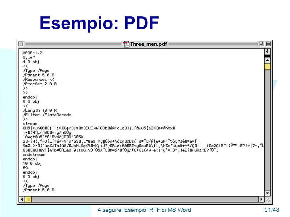 WWW A seguire: Esempio: RTF di MS Word21/48 Esempio: PDF