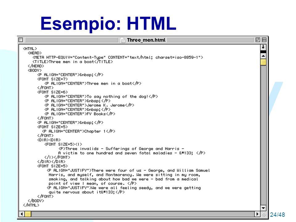 WWW A seguire: Esempio: XML24/48 Esempio: HTML