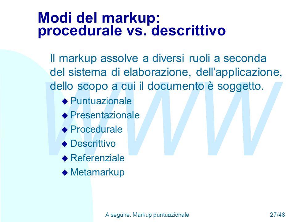 WWW A seguire: Markup puntuazionale27/48 Modi del markup: procedurale vs.