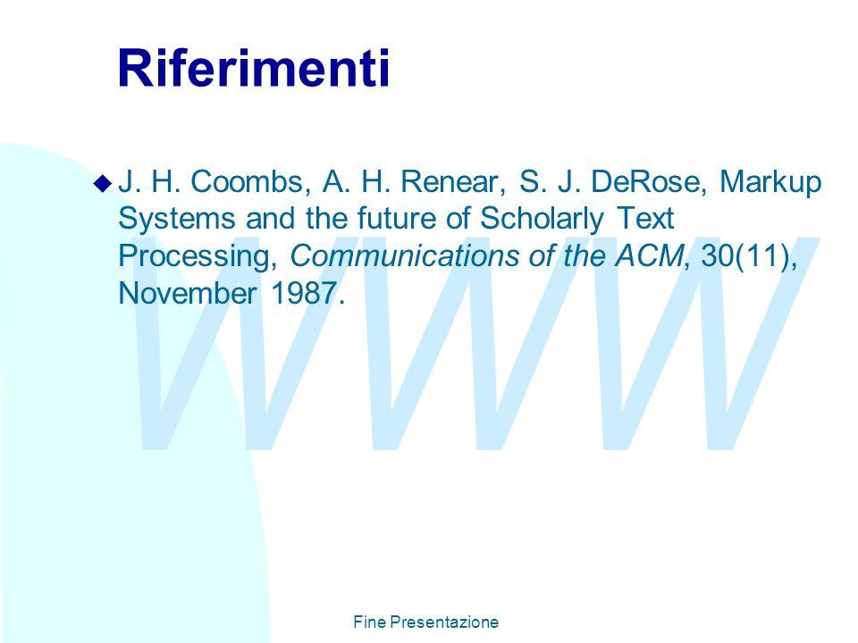 WWW Fine Presentazione Riferimenti u J. H. Coombs, A.