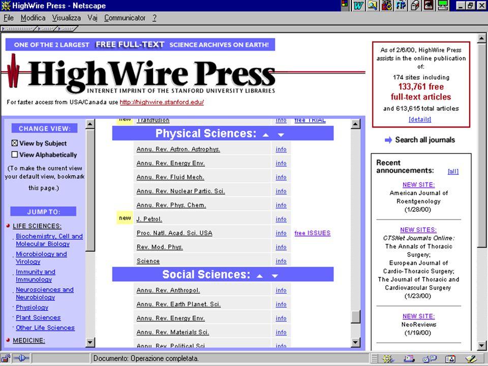 Bologna, 28 febbraio 2000Antonella De Robbio 17 l'esperienza HighWire Press 2.