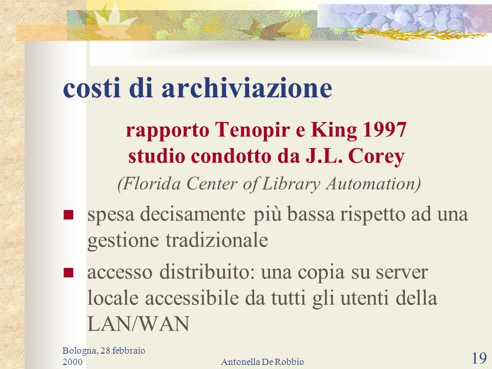 Bologna, 28 febbraio 2000Antonella De Robbio 18