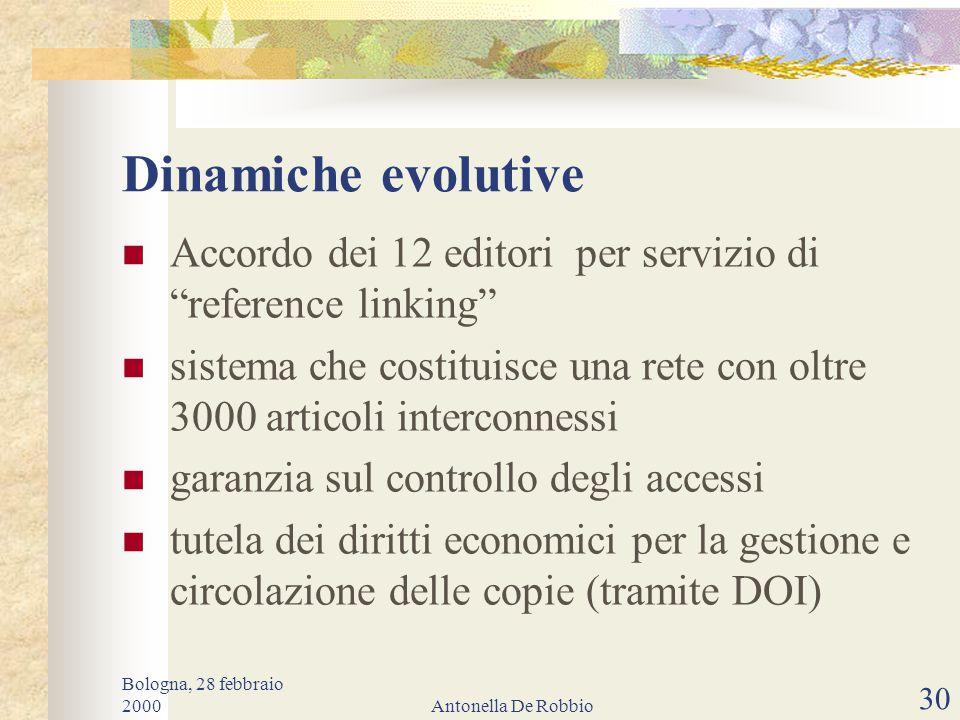 Bologna, 28 febbraio 2000Antonella De Robbio 29