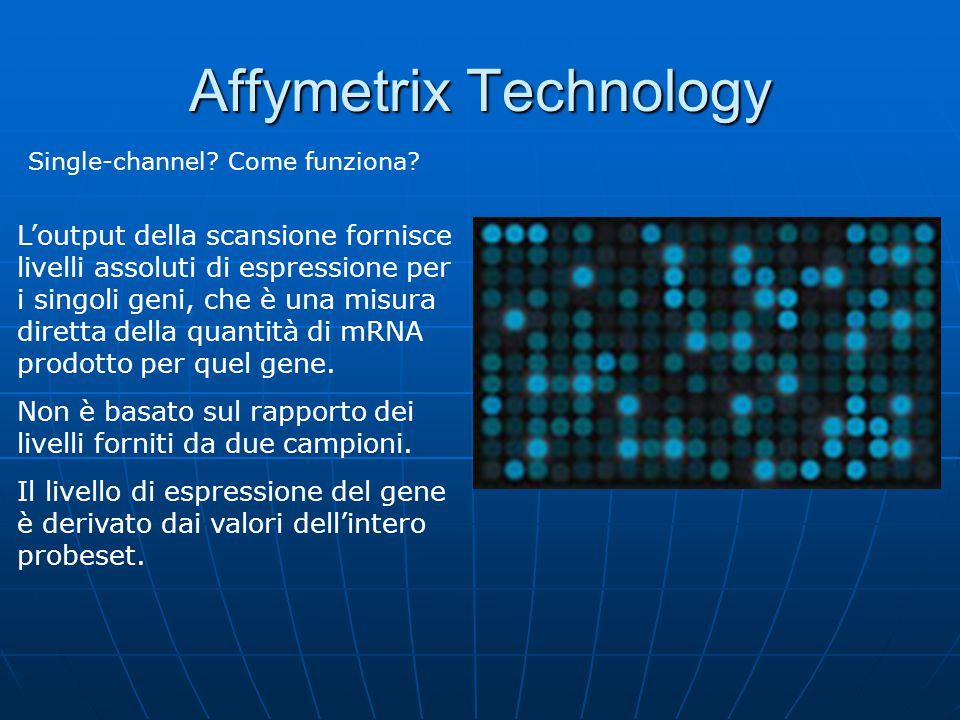 Affymetrix Technology Single-channel? Come funziona? L'output della scansione fornisce livelli assoluti di espressione per i singoli geni, che è una m
