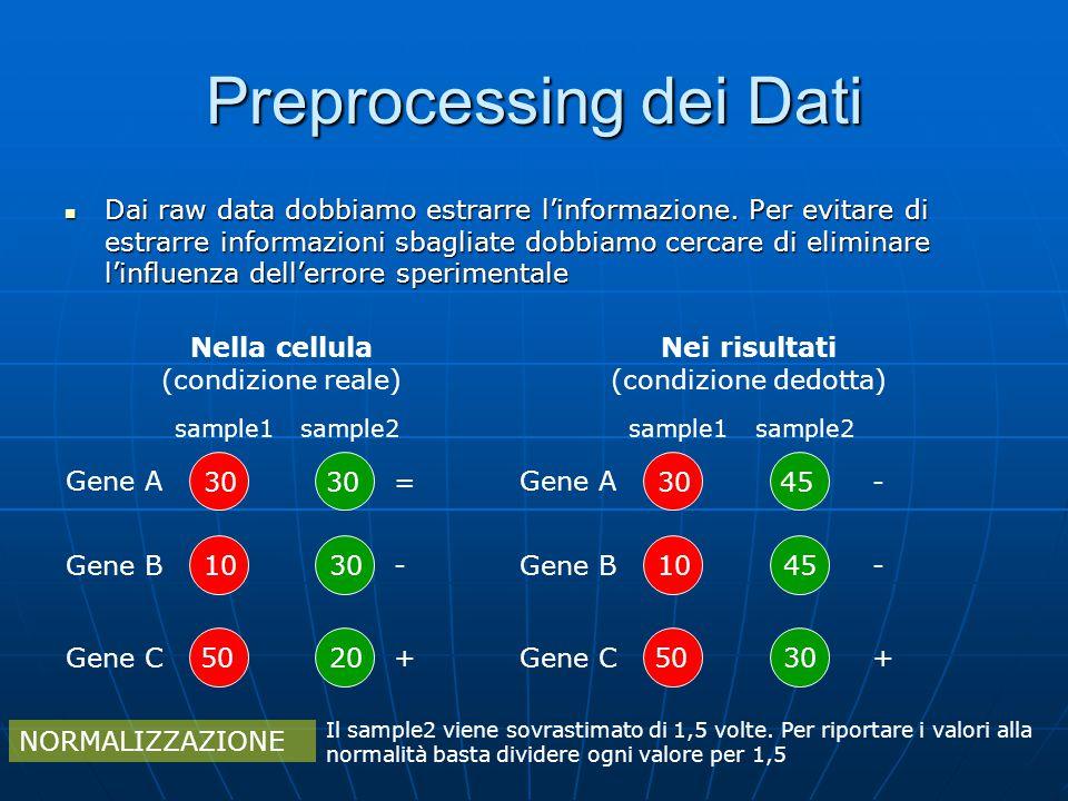 Preprocessing dei Dati Dai raw data dobbiamo estrarre l'informazione. Per evitare di estrarre informazioni sbagliate dobbiamo cercare di eliminare l'i
