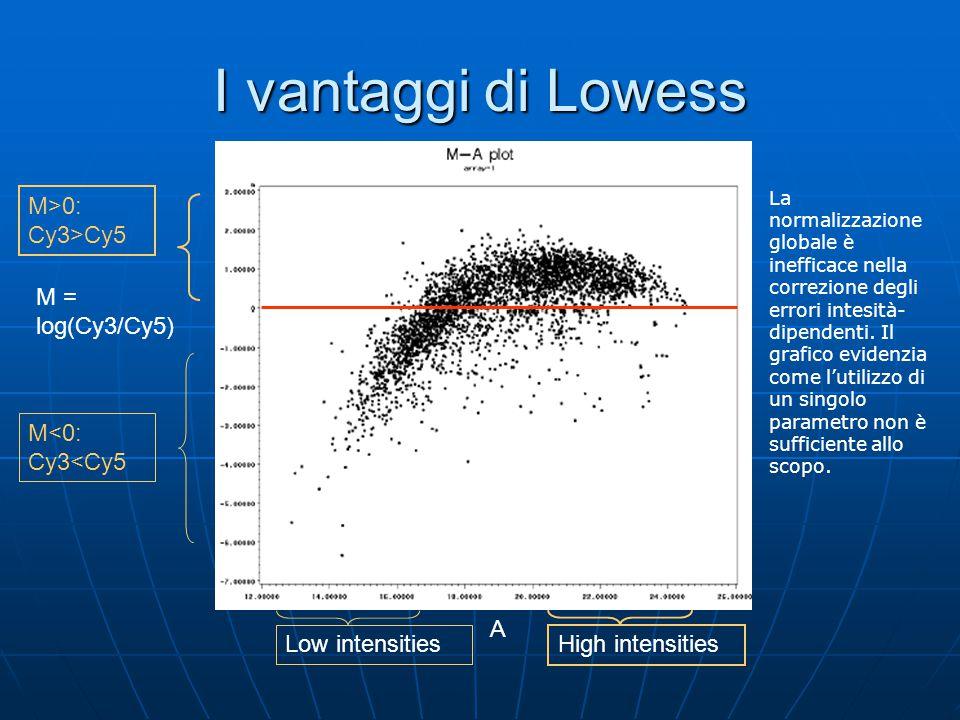 I vantaggi di Lowess La normalizzazione globale è inefficace nella correzione degli errori intesità- dipendenti. Il grafico evidenzia come l'utilizzo