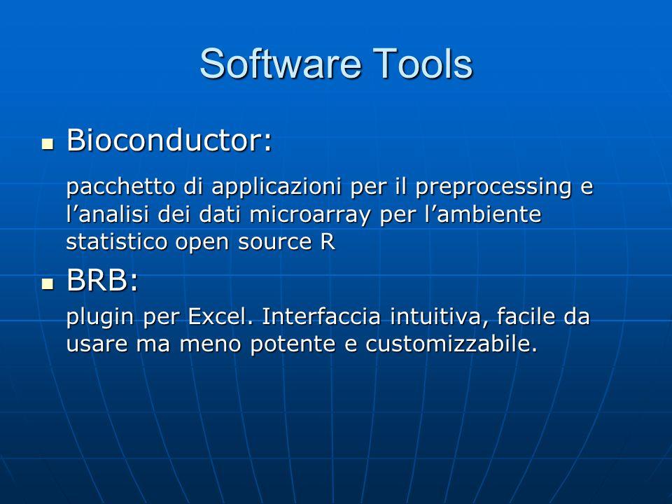 Software Tools Bioconductor: Bioconductor: pacchetto di applicazioni per il preprocessing e l'analisi dei dati microarray per l'ambiente statistico op