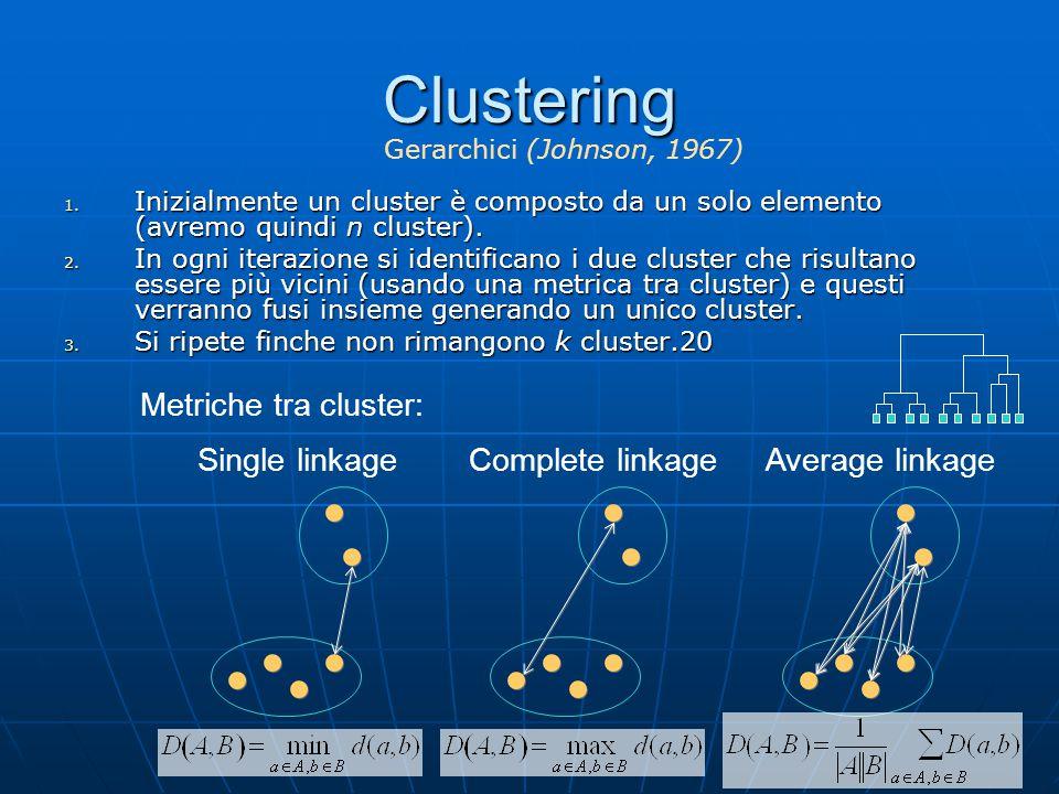 Clustering 1. Inizialmente un cluster è composto da un solo elemento (avremo quindi n cluster). 2. In ogni iterazione si identificano i due cluster ch