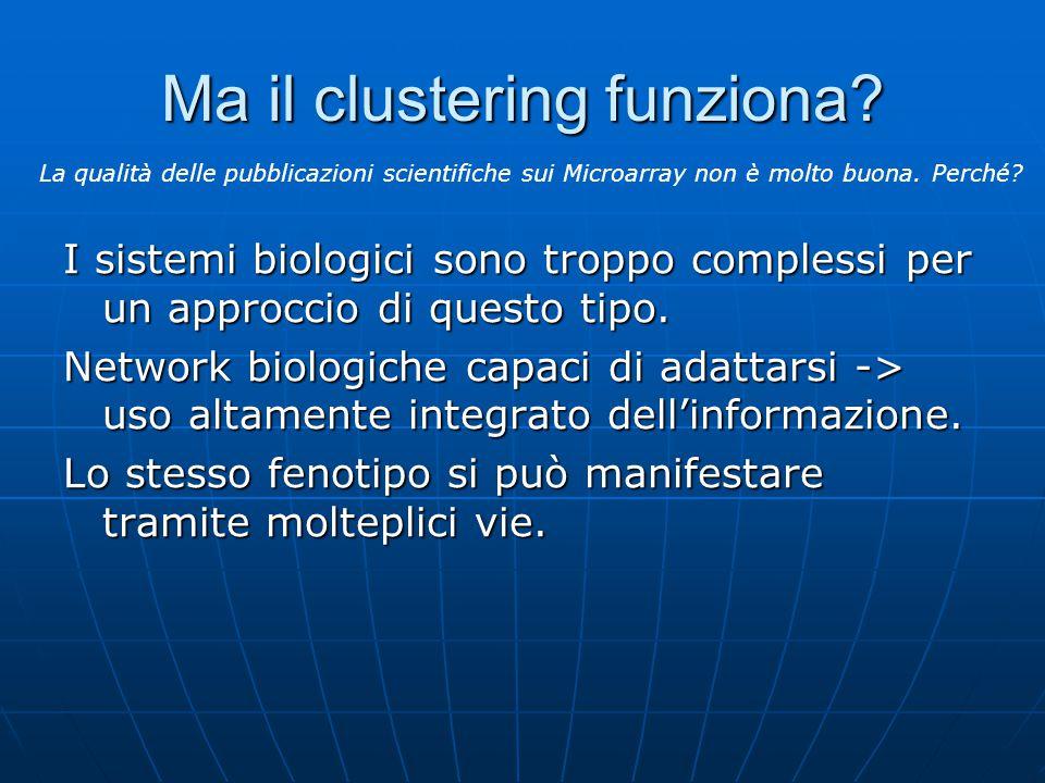 Ma il clustering funziona? I sistemi biologici sono troppo complessi per un approccio di questo tipo. Network biologiche capaci di adattarsi -> uso al