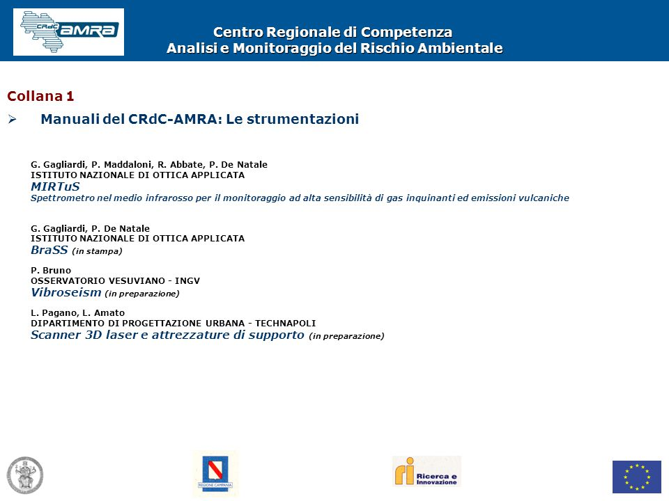 Centro Regionale di Competenza Analisi e Monitoraggio del Rischio Ambientale G. Gagliardi, P. Maddaloni, R. Abbate, P. De Natale ISTITUTO NAZIONALE DI