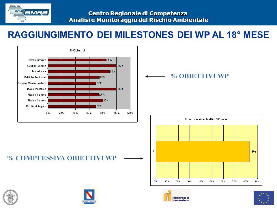 Centro Regionale di Competenza Analisi e Monitoraggio del Rischio Ambientale % OBIETTIVI WP % COMPLESSIVA OBIETTIVI WP RAGGIUNGIMENTO DEI MILESTONES D