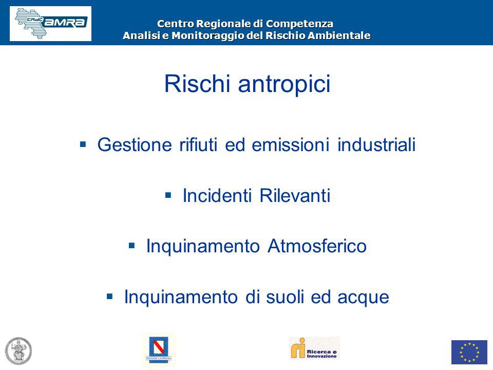 Centro Regionale di Competenza Analisi e Monitoraggio del Rischio Ambientale Rischi antropici  Gestione rifiuti ed emissioni industriali  Incidenti