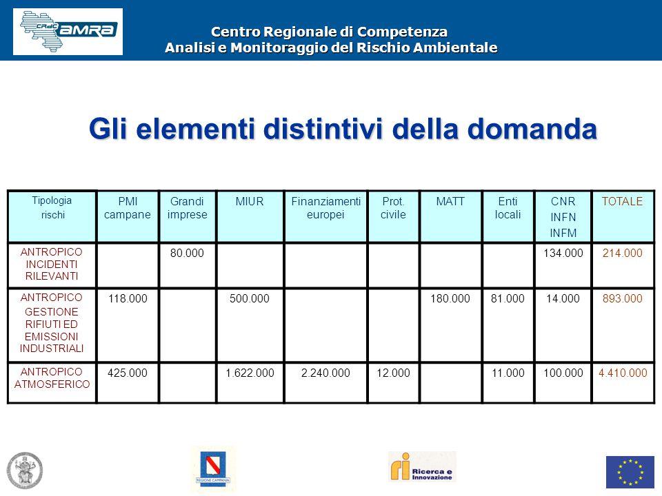 Centro Regionale di Competenza Analisi e Monitoraggio del Rischio Ambientale Tipologia rischi PMI campane Grandi imprese MIURFinanziamenti europei Pro