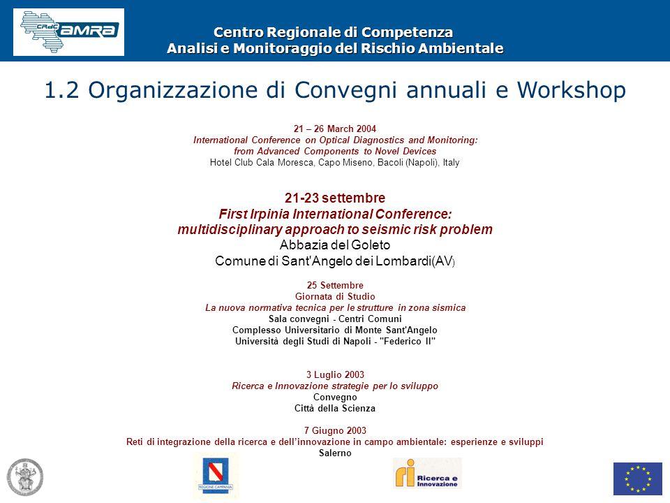 Centro Regionale di Competenza Analisi e Monitoraggio del Rischio Ambientale 1.2 Organizzazione di Convegni annuali e Workshop 21 – 26 March 2004 Inte