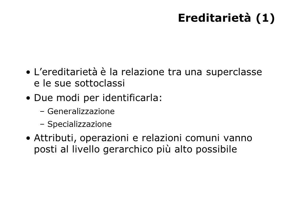 Ereditarietà (1) L'ereditarietà è la relazione tra una superclasse e le sue sottoclassi Due modi per identificarla: – Generalizzazione – Specializzazione Attributi, operazioni e relazioni comuni vanno posti al livello gerarchico più alto possibile