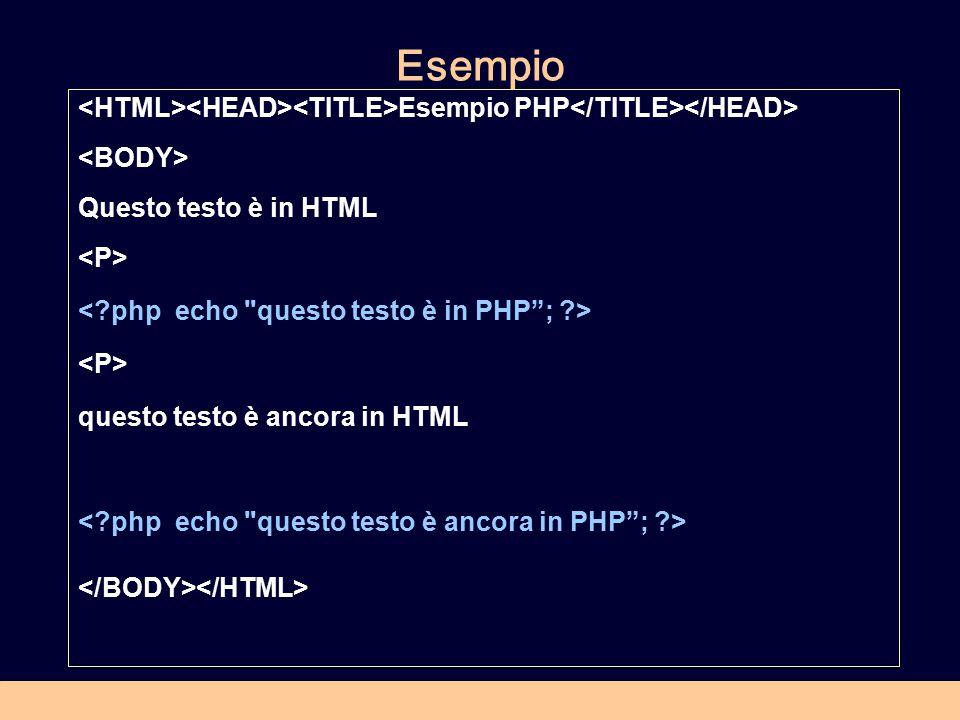 Esempio Esempio PHP Questo testo è in HTML questo testo è ancora in HTML