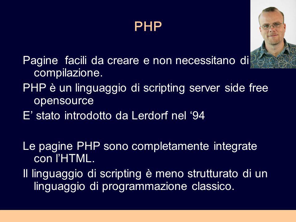 PHP Pagine facili da creare e non necessitano di compilazione. PHP è un linguaggio di scripting server side free opensource E' stato introdotto da Ler