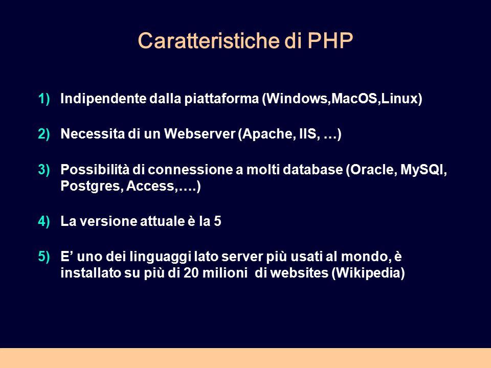 Caratteristiche di PHP 1)Indipendente dalla piattaforma (Windows,MacOS,Linux) 2)Necessita di un Webserver (Apache, IIS, …) 3)Possibilità di connession