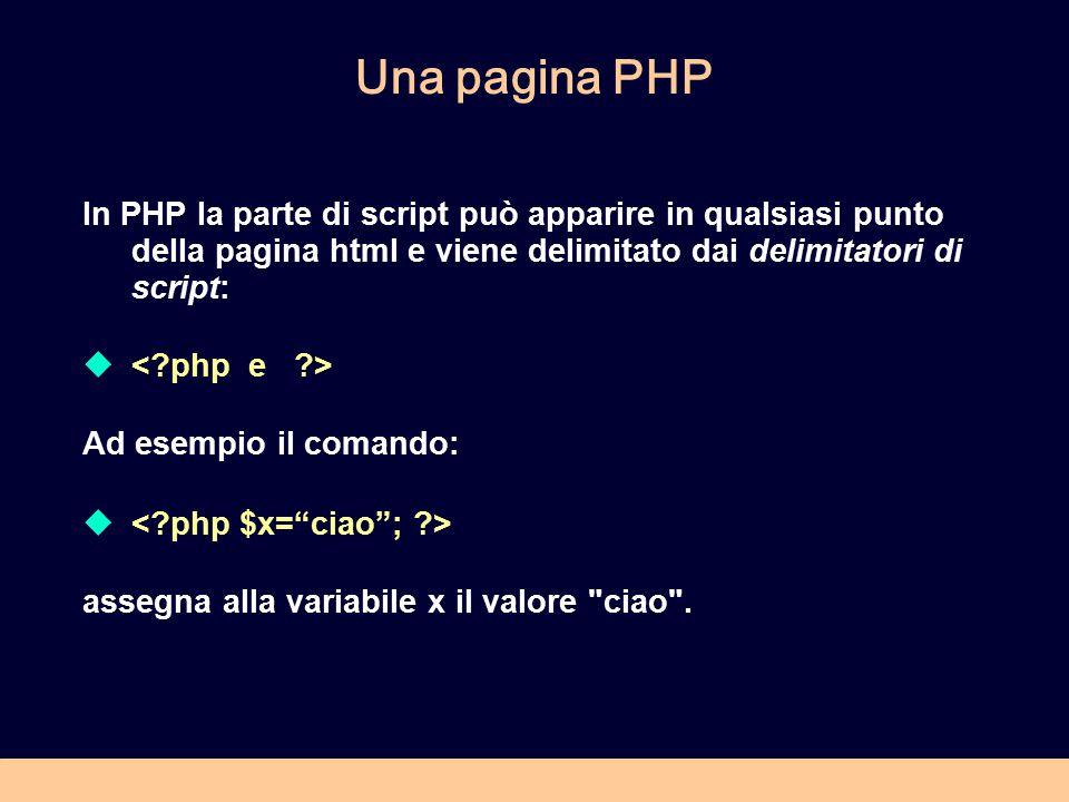 Una pagina PHP In PHP la parte di script può apparire in qualsiasi punto della pagina html e viene delimitato dai delimitatori di script:  Ad esempio